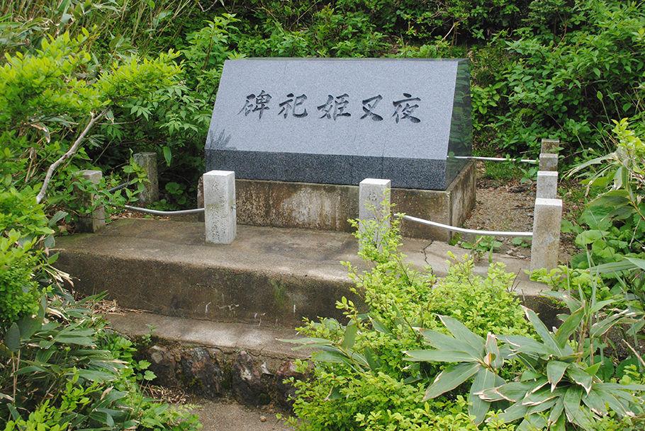 池のほとりに立つ夜叉姫祀碑