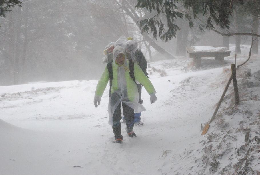 2014年2月8日、暴風雪の大倉尾根を歩く畠山さん。猛暑でも大雪でも歩みは変わらない