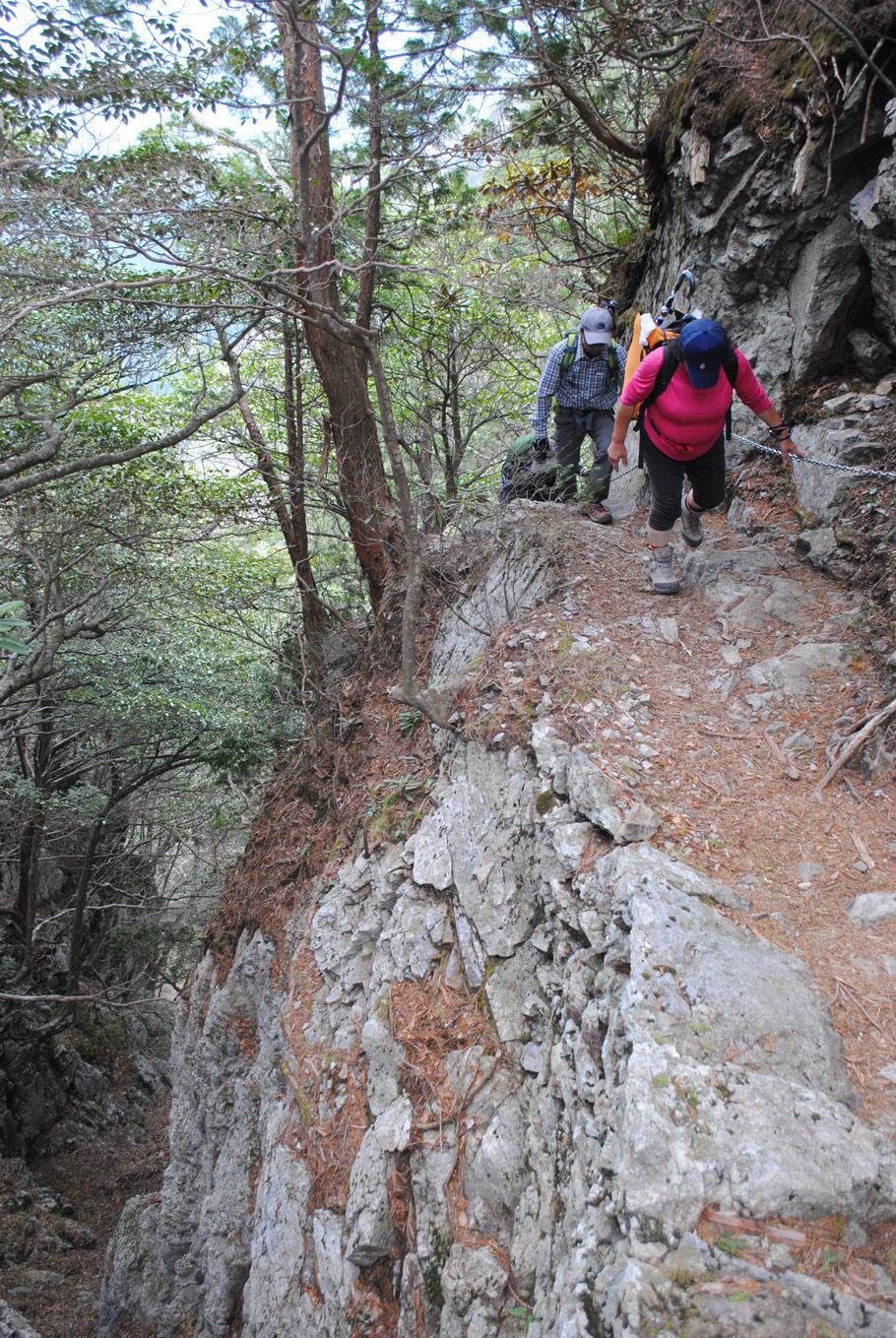 片側が崖となった登山道を行く