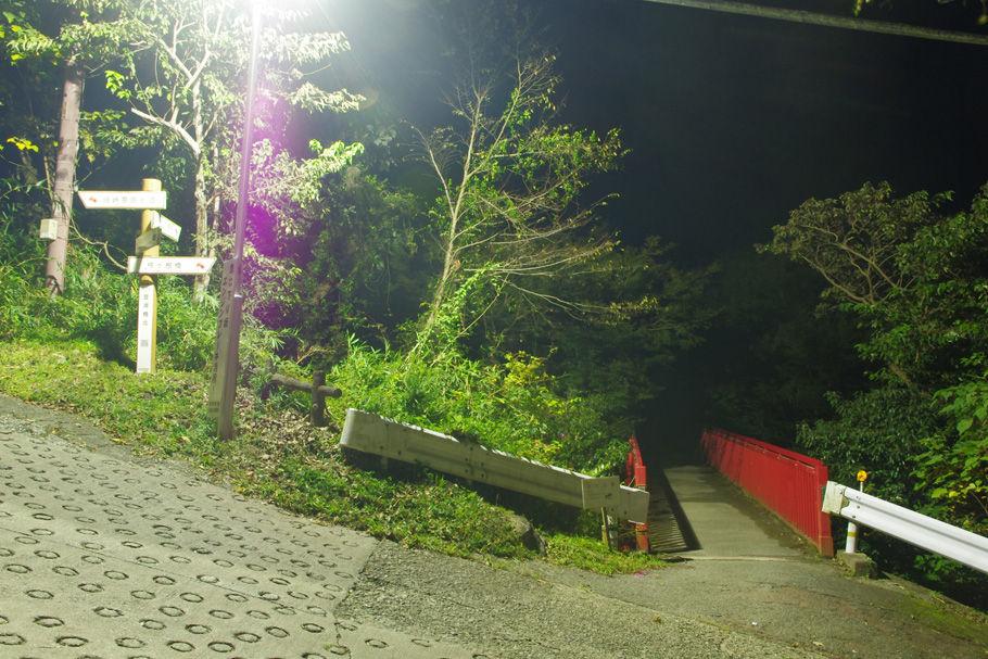 枚岡山からは右の赤い橋へ下ってくる。写真の左側の登りが暗峠へと続く道
