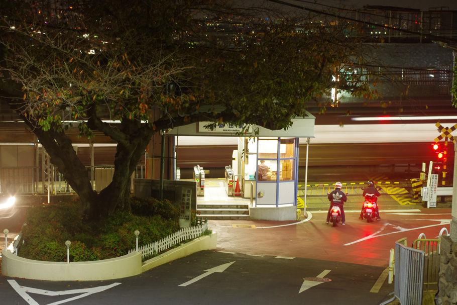 桜の大木と近鉄額田駅