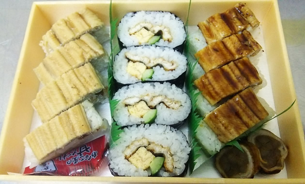 昼食のぜいたくあなご寿司3種(イメージ)(他にあなご料理のおかずが付きます)