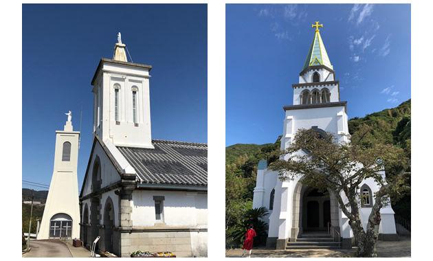 世界文化遺産の出津教会堂と浜脇教会(イメージ)