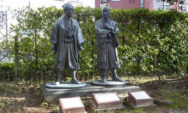 旅立ちの像(横井小楠と由利公正)(イメージ)