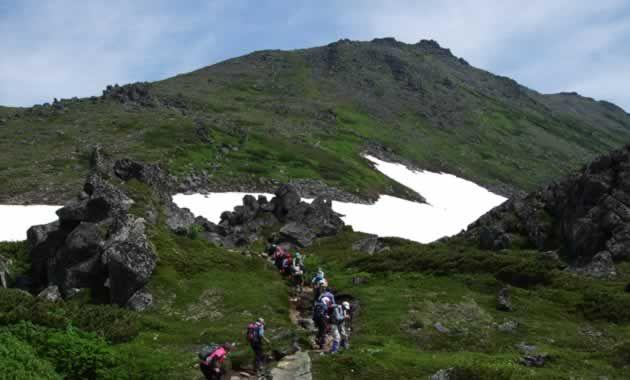 トムラウシ山山頂直下を登る(イメージ)