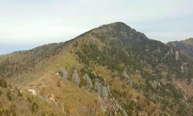 深仙の宿(左下)と釈迦が岳(イメージ)