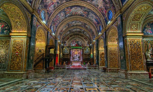 マルタ島聖ヨハネ大聖堂(画像提供:マルタ観光局www.viewingmalta.com)